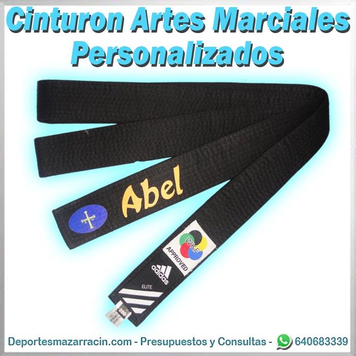 cinturon artes marciales personalizado con nombre y bandera