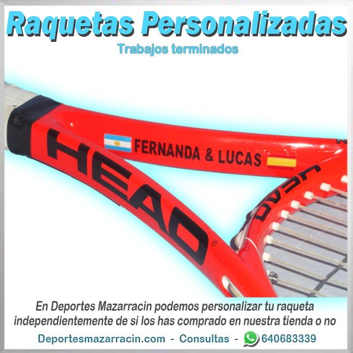 Raqueta de tenis personalizada head con dos nombre y dos banderas