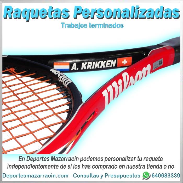 Raqueta de tenis personalizada head nombre y dos banderas
