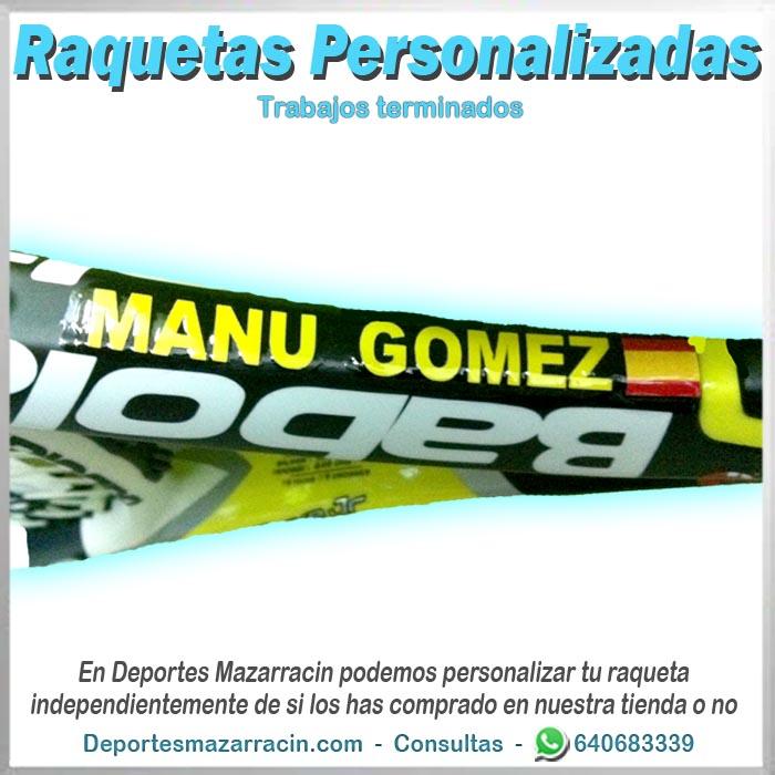 Raqueta de tenis personalizada babolat nombre y bandera españa
