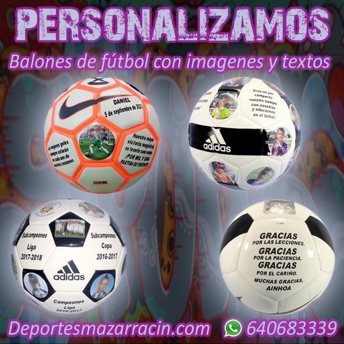 Personalización balones de futbol imágenes y textos
